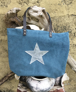 Suede Leather Tote with Silver Star - Teal