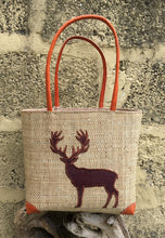 Load image into Gallery viewer, Madaraff Raffia Bag – Small – Stag Design