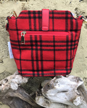 Load image into Gallery viewer, Red Tartan Style Shoulder Bag