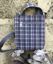 Load image into Gallery viewer, Grey Tartan Style Over Body Bag