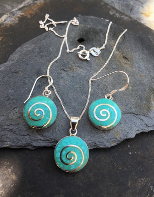 SE142SP101 GREEN ROUND SWIRL SET