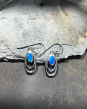 Load image into Gallery viewer, E555 - -DOUBLE OVAL WIRE BLUE OPAL EARRINGS