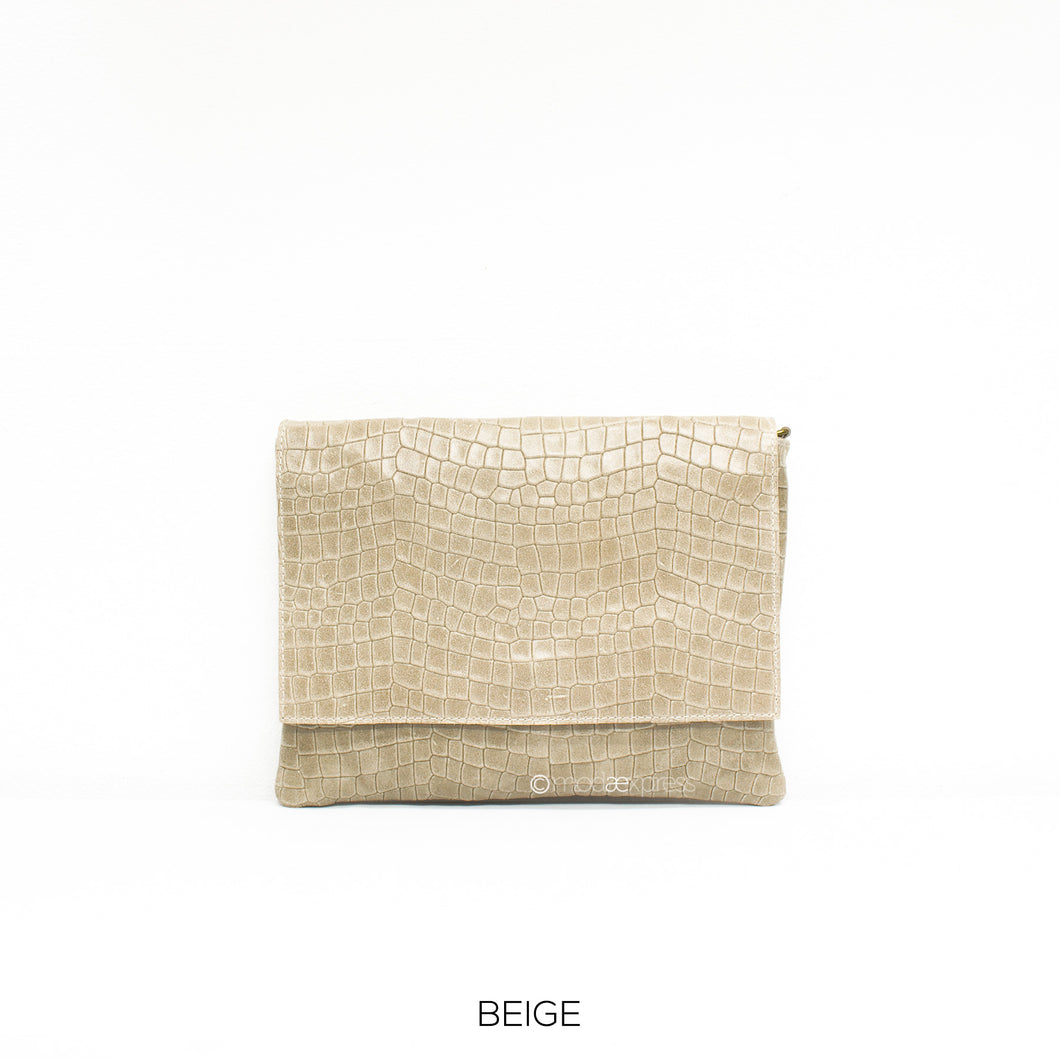 Leather Full Croc Print Clutch with Flap - Beige