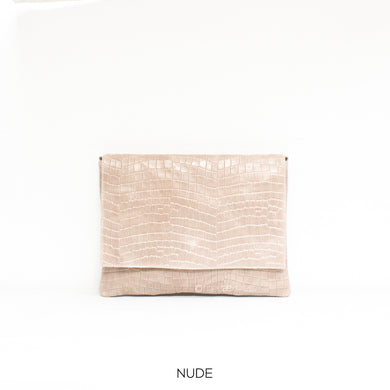 Leather Full Croc Print Clutch with Flap - Nude