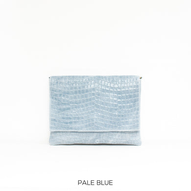 Leather Full Croc Print Clutch with Flap - Pale Blue