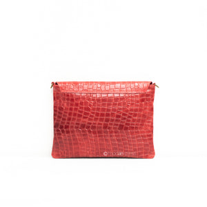 Leather Full Croc Print Clutch with Flap - Tan