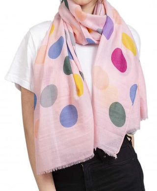 Soft Printed Scarf with Polka Dot Pattern - Pink