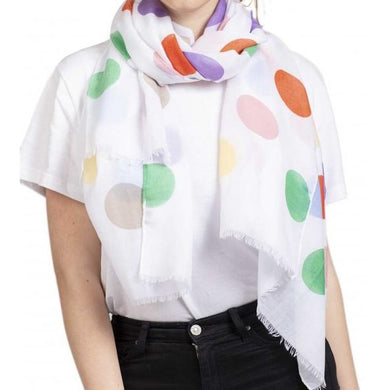 Soft Printed Scarf with Polka Dot Pattern - White