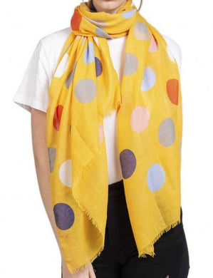 Soft Printed Scarf with Polka Dot Pattern - Yellow