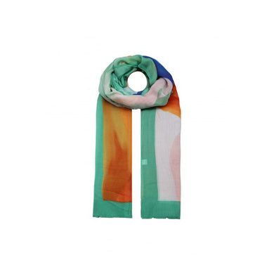 Abstract Colours Printed Scarf  - Green