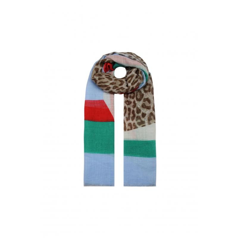 Coloured Leopard Printed Scarf - Blue