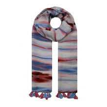 Load image into Gallery viewer, Waves Colour Tassle Scarf - Blue