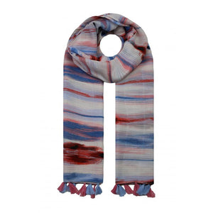 Waves Colour Tassle Scarf - Blue