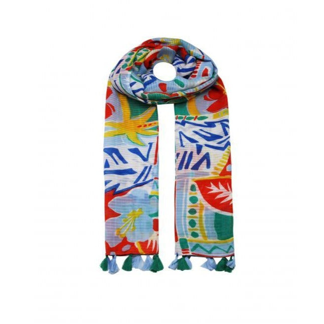 Hawaiian Flower scarf - Blue