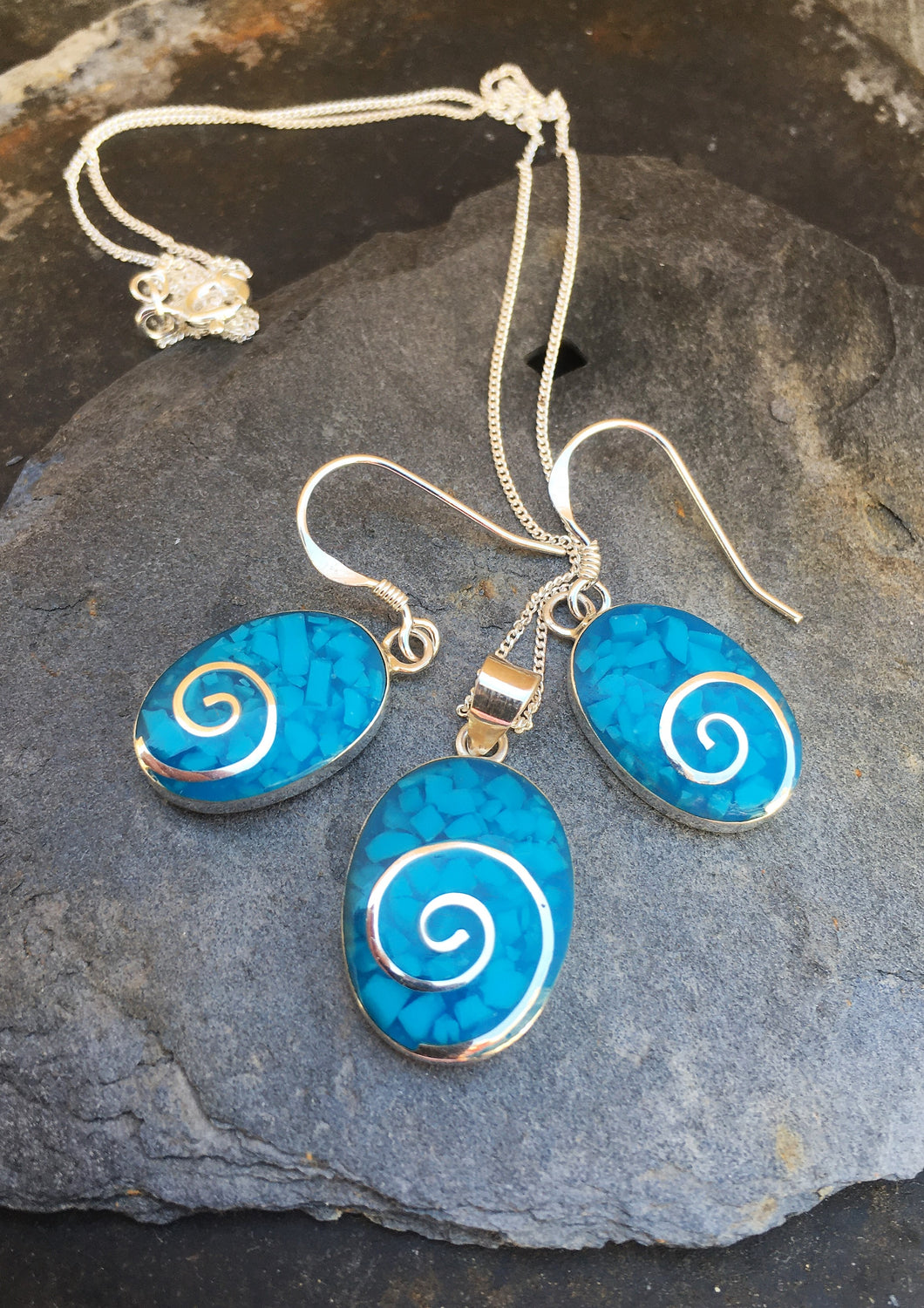 SE139SP098 BLUE OVAL SWIRL SET