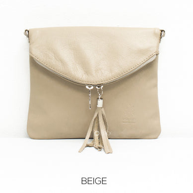 Soft Leather Fold-over Cross-body leather bag - Beige