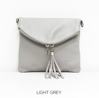 Soft Leather Fold-over Cross-body leather bag - Light Grey