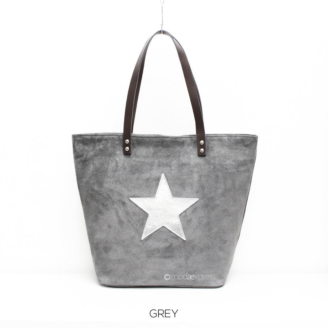 Suede Leather Tote with Silver Star - Grey