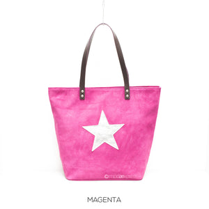 Suede Leather Tote with Silver Star - Magenta