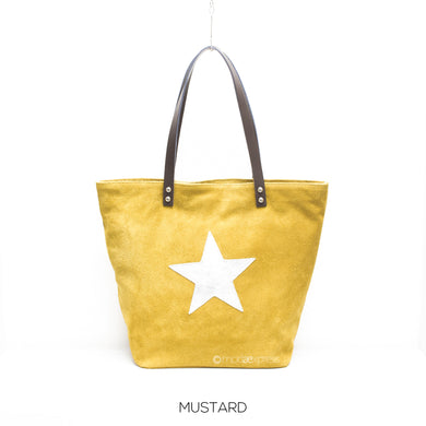 Suede Leather Tote with Silver Star - Mustard