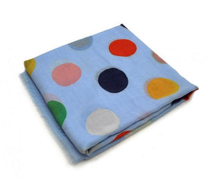 Soft Printed Scarf with Polka Dot Pattern - Blue
