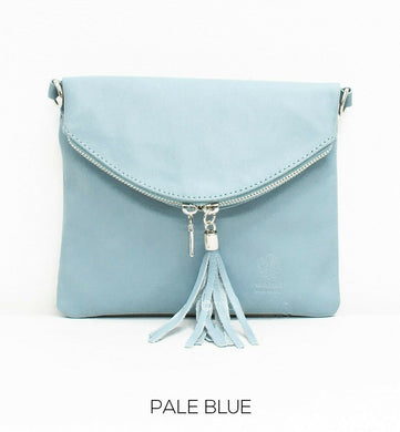 Soft Leather Fold-over Cross-body bag - Pale Blue