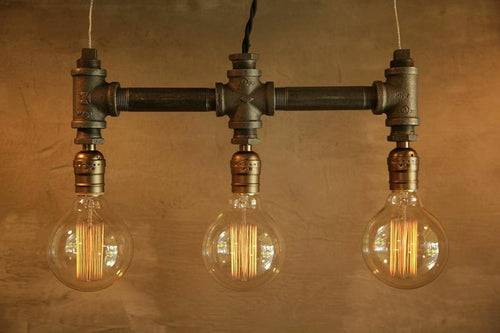 3 Bulb - Globe style Edison bulb iron pipe pendant lamp From Sweet Homes