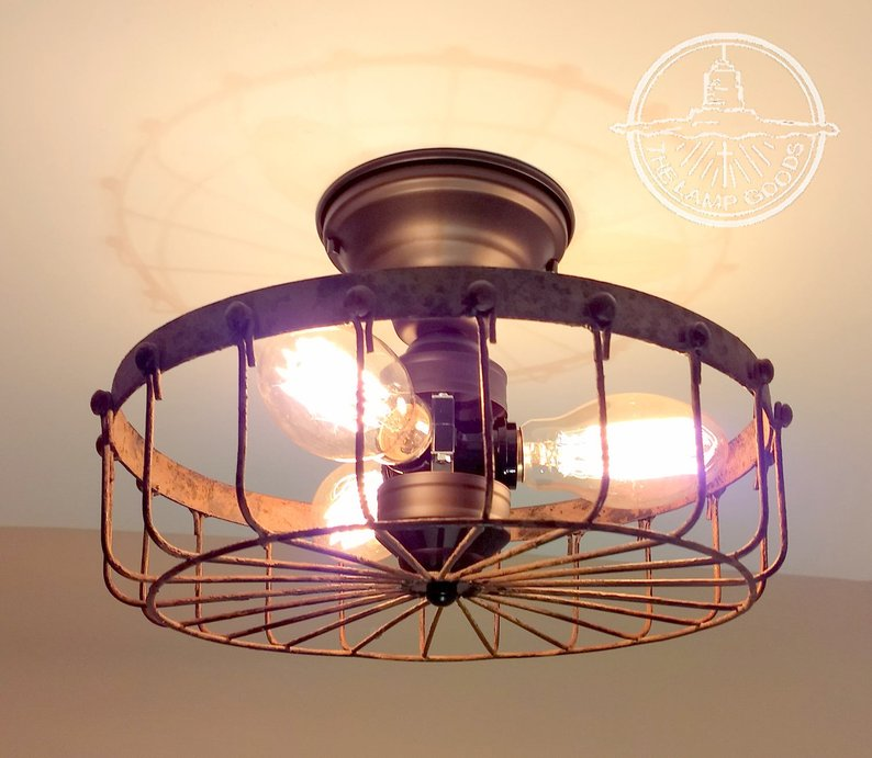 Rustic INDUSTRIAL Flush Mount Cage Ceiling Light - From Sweet Homes