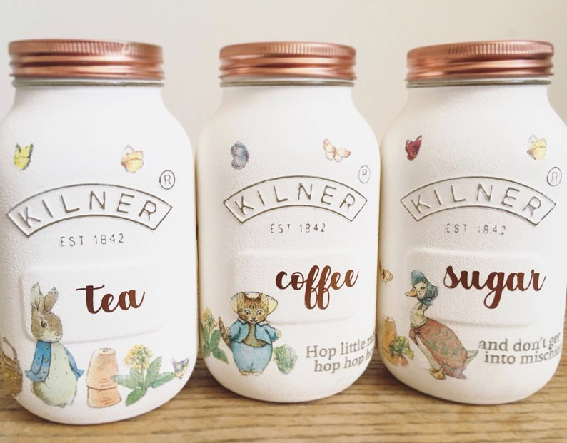 Peter Rabbit Beatrix Potter Kilner Tea Coffee Sugar Set of 3 (1 Litre) Jars