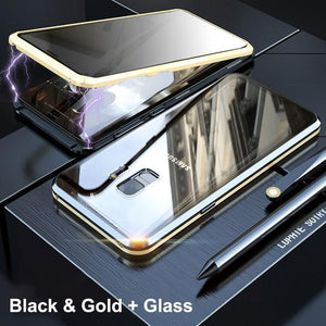 Anti-Peeping Privacy Magnetic Adsorption Two Side Tempered Glass Phone Case For Samsung S9 S9 Plus phone case Article union gold SAMSUNG S9PLUS
