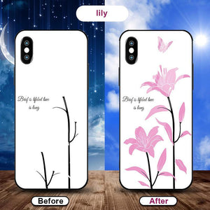 Flowering when exposed to UV Rays, new technology tempered glass phone case for iPhone