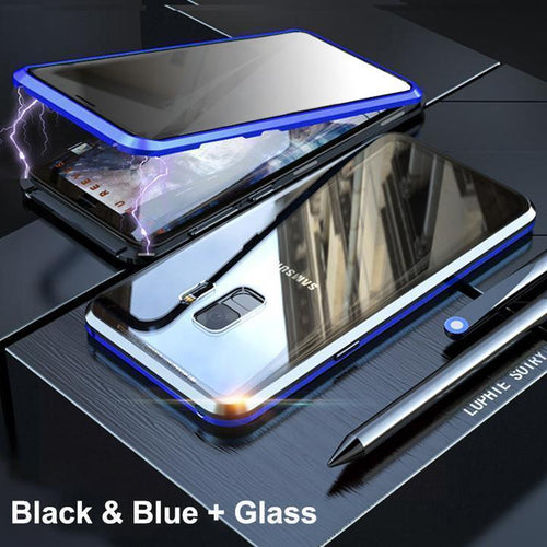 Anti-Peeping Privacy Magnetic Adsorption Two Side Tempered Glass Phone Case For Samsung S9 S9 Plus phone case Article union blue SAMSUNG S9PLUS