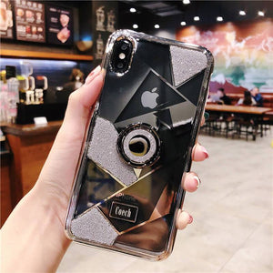 Luxury three-piece diamond ring bracket case for iPhone phone case Rubili silver IPHONE XS MAX