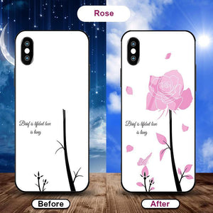 Flowering when exposed to UV Rays, new technology tempered glass phone case for iPhone phone case Article union rose IPHONE XS MAX