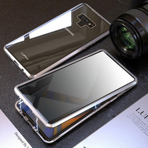 Anti-Peeping Privacy Magnetic Adsorption Two Side Tempered Glass Phone Case For Samsung Note 9 phone case Article union silver SAMSUNG NOTE9