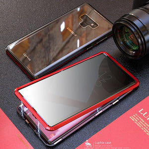 Anti-Peeping Privacy Magnetic Adsorption Two Side Tempered Glass Phone Case For Samsung Note 9