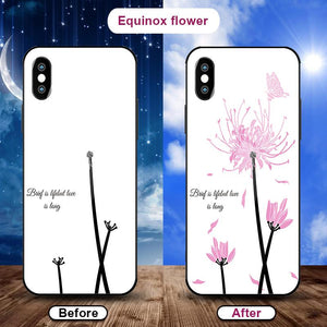 Flowering when exposed to UV Rays, new technology tempered glass phone case for iPhone phone case Article union equinox flower IPHONE XS MAX