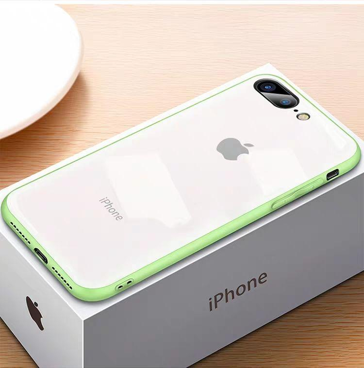 (Christmas Special) New Style Original Liquid Silicone Frame Tempered Glass Cover Phone Case For iPhone phone case articleunion white&green IPHONE XS MAX
