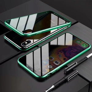 Anti-Peeping Privacy Magnetic Adsorption Two Side Tempered Glass Phone Case For iPhone phone case articleunion green IPHONE XS MAX