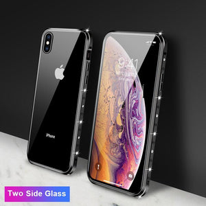 Magnetic Adsorption Diamond Bling Border Transparent Tempered Glass Phone Case For iPhone phone case Rubili black Two Side Glass IPHONE XS MAX