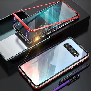 Magnetic Adsorption Transparent Tempered Glass Two side Glass Cover Phone Case For Samsung phone case Article union BLACK & RED SAMSUNG S10