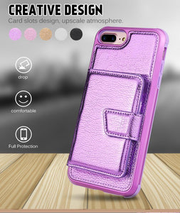 Premium quality luxury PU leather phone case with credit-card-slot for iPhone phone case Rubili