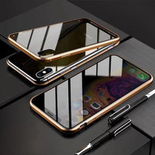 Load image into Gallery viewer, Anti-Peeping Privacy Magnetic Adsorption Two Side Tempered Glass Phone Case For iPhone phone case articleunion gold IPHONE X/XS