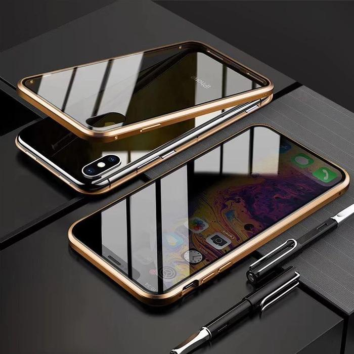 Anti-Peeping Privacy Magnetic Adsorption Two Side Tempered Glass Phone Case For iPhone phone case articleunion gold IPHONE X/XS