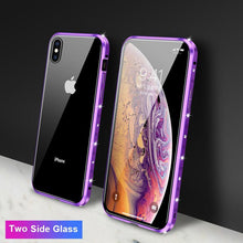 Load image into Gallery viewer, Magnetic Adsorption Diamond Bling Border Transparent Tempered Glass Phone Case For iPhone phone case Rubili purple Two Side Glass IPHONE XS MAX