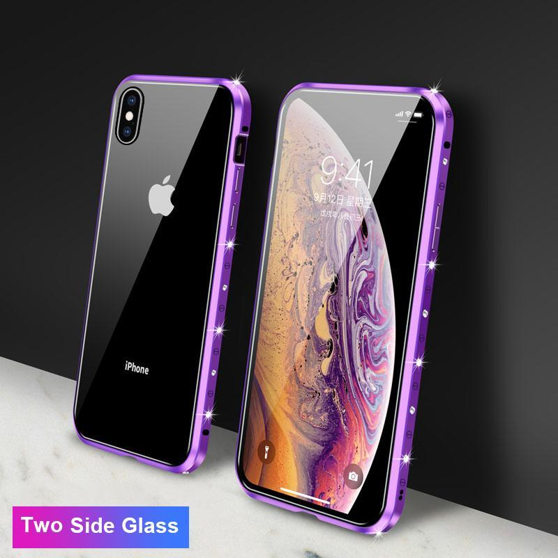 Magnetic Adsorption Diamond Bling Border Transparent Tempered Glass Phone Case For iPhone phone case Rubili purple Two Side Glass IPHONE XS MAX