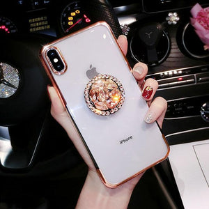 2019 new fashion luxury flash diamond bracket case for iPhone phone case Rubili gold IPHONE X/XS