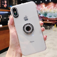 Load image into Gallery viewer, Luxury Anti-fall Glitter Powder ring bracket case for iPhone phone case Rubili clear IPHONE XS MAX
