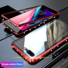 Load image into Gallery viewer, Magnetic Adsorption Diamond Bling Border Transparent Tempered Glass Phone Case For iPhone phone case Rubili red Single-sided Glass IPHONE XS MAX