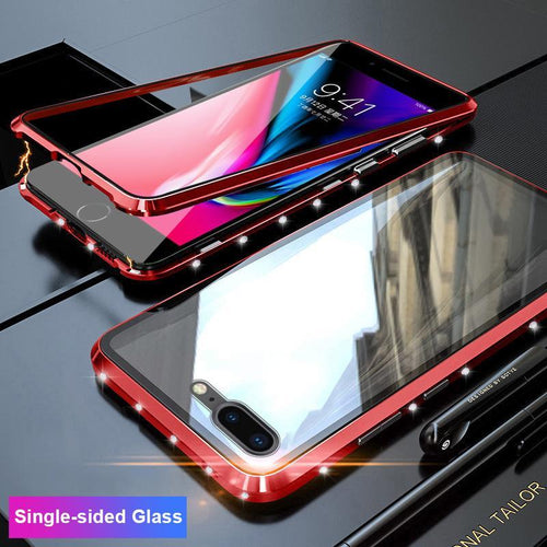 Magnetic Adsorption Diamond Bling Border Transparent Tempered Glass Phone Case For iPhone phone case Rubili red Single-sided Glass IPHONE XS MAX